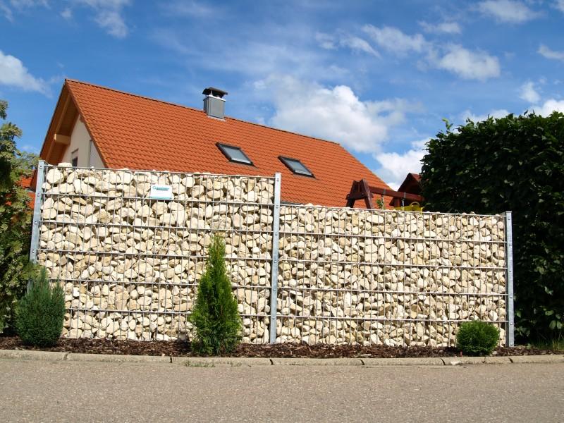 Doppelstabmattenzaun Sichtschutz Steinoptik